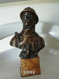 Bronze buste sur marbre poilu 1er guerre signé octave Lelièvre 1869-1947
