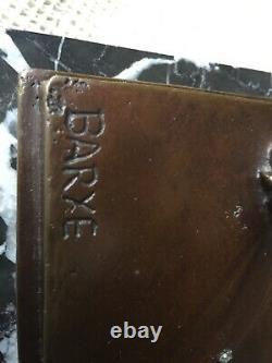 Bronze signe Barye L 22cm La 9.5 cm H 14 cm sure socle de marbre