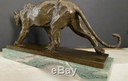 Bronzefigur-Panther en Bronze sur Plaque de Marbre Signé Bugatti comme Nachguss