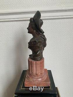 Buste Bronze Et Marbre XIX Eme Georges VAN DER STRAETEN Avec Cachet Du Fondeur