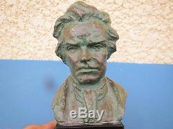 Buste En Bronze Patine Verte France De Beethoven Signe Socle Marbre