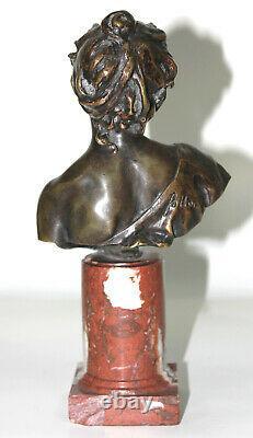 Buste XIXeme en bronze Rieuse signé Follot sur socle marbre