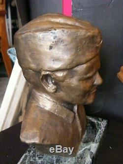 Buste en Bronze Josip Broz Tito 1892 1980 Yougoslavie Signé Jokan Socle Marbre