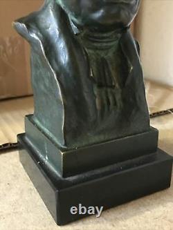 Buste en bronze de Mozart signé X Ranel, socle marbre noir Hauteur 25,5 cm