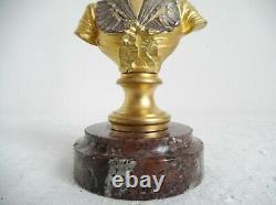 Buste en bronze doré et argenté sur marbre signé A. Caron. Art Nouveau, fin XIXè