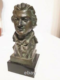 Buste en bronze probablement de Mozart signé X Ranel, socle marbre noir