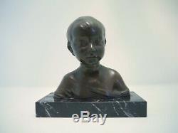 Buste enfant Bronze à patine brune sur socle en marbre XIXème signé Donatello