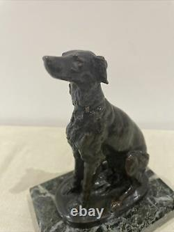 Cautier Cartier Bronze Chien De Chasse Sur Socle En Marbre Antique French