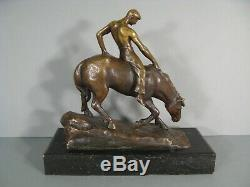 Cavalier A Cru Cheval Homme Equitation Sculpture Bronze Ancien Signé Gerd Jaeger