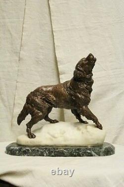 Charles Valton (1851-1918) San Bernardo dans Neige Bronze Et Marbre Blanc