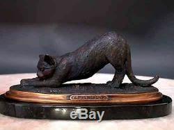 Chat Bronze Sculpture Stretching Art Signé Base en Marbre