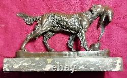 Chien Épagneul Chasse Bronze Marbre Signé JULES MOIGNIEZ XIXème 4,8kg Collection