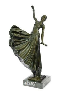 Chiparus Ventre Danseuse Statue Pure Bronze Sculpture Signé Art Déco Marbre Base