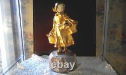 Chryséléphantine A. Gory Art Déco Jeune Fille Aux Paniers Bronze Doré & Marbre