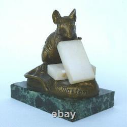 Clovis Edmond Masson souris aux sucres bronze et marbre 19e sculpteur animalier
