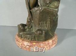 Divinité Lacustre Jeune Homme Ancienne Sculpture En Bronze Signée Germain-thill