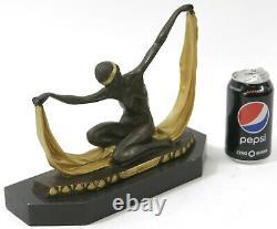 Écharpe Danseuse Pure Bronze Art Déco Signé Mirval Sculpture Statue Marbre