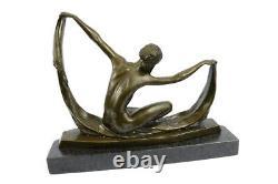 Écharpe Danseuse Pure Bronze Art Déco Signée Mirval Sculpture Statue Marbre