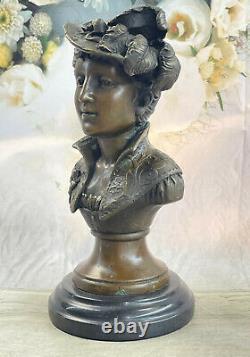 Élégant Original Signé Sculpture Par Milo Bronze Marbre Base Statue Femme Buste