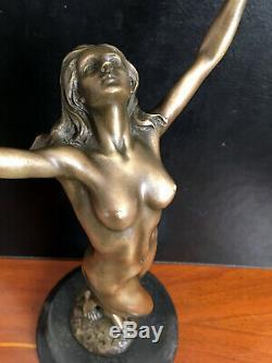 Élégante Figure en Bronze Nu De Raymondo Signé Sur Base en Marbre -bronzefigur