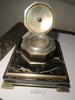 Encrier En Bronze Dore' Et Marbre Signe' Albert Marionnet 1852 1910