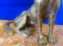 Encrier ancien début XXéme en marbre et bronze chien signé MAUROY