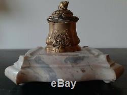 Encrier bronze XIX signé RAMBAUD fondeur SUSSES FRERES sur socle en marbre