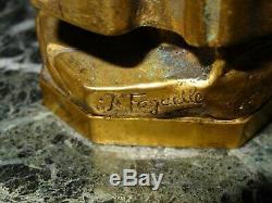 Encrier en bronze doré DANTE et marbre vert signé FAGUELLE et SUSSE frères