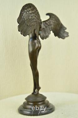 Énorme Chair Femme Ange Bronze Statue Signé Par Weinman Marbre Sculpture Déco