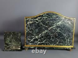 Ensemble de bureau 5 pièces marbre & bronze époque début XIX° siècle, signé
