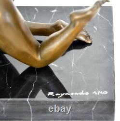 Érotique Figure en Bronze Nu Signé Raymondo Sur Base en Marbre Numérotée 2/10