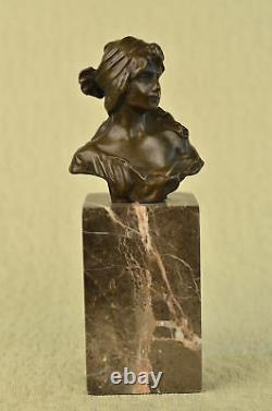 Érotique Sensuelle Chair Femelle Femme Buste Signé Bronze Marbre Sculpture Art