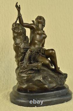 Érotique Sensuelle Nu Femelle Femme Buste Signée Bronze Marbre Sculpture Art