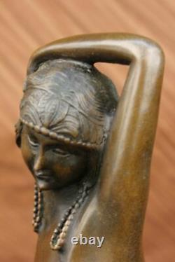 Érotique Sensuelle Nu Femelle Femme Signé Bronze Marbre Statue Sculpture Sexy D