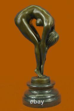 Érotique Sensuelle Nu Femelle Femme Signée Bronze Marbre Sculpture Sexy Solde