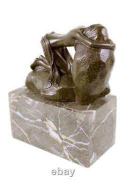 Érotique Sensuelle Nu Femelle Femme Signée Bronze Marbre Statue Sculpture Sexy D