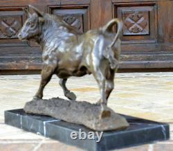 Fait Main Bronze Skulptur-Bronze Taureau Signé A. L. Barye Sur Base en Marbre
