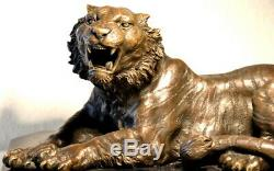 Fait Main Figure en Bronze Tigre en Bronze sur Base en Marbre Signé Barye