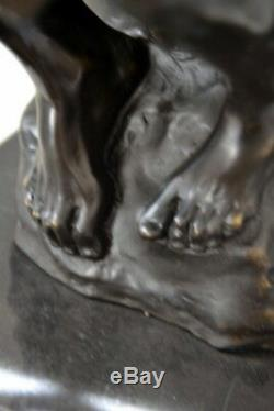 Fait Main Grand Sculpture en Bronze Penseur Signé Rodin sur Plaque de Marbre