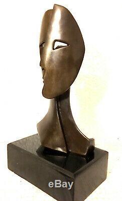 Fait Main Kubistische Bronze Buste avec Signature sur Base en Marbre