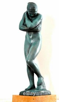 Fait Main Sculpture en Bronze Nu Eva Signé A. Rodin sur Plaque de Marbre