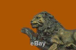 Fait à la Main Large Signée Moigniez Lion au Repos Bronze Marbre Figurine