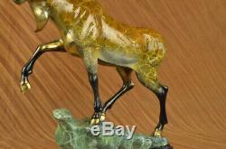 Fait à la Main Signé Original Moose Faune Bronze Sculpture Marbre Base Figurine