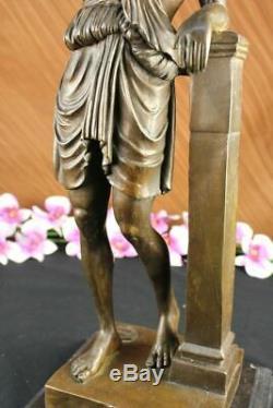 Fait à la Main Signée Lang Joli Chair Grec Déesse Bronze Marbre Base Figurine