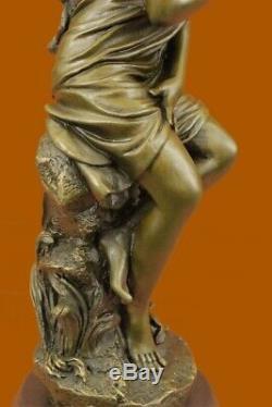 Fait à la Main Signée Moreau, Bronze Statue Femelle Nu Ange Art Marbre Figurine