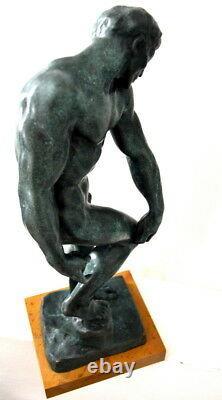 Figure de Bronze Adam Avec Signature Signé Rodin Sur Base en Marbre 6,8 KG