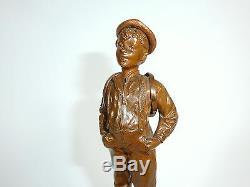 Figure de Bronze sur le Base en Marbre Um 1900 Signé E. Beck