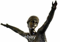 Figure en Bronze Danseuse Signé Chiparus sur Base en Marbre avec Signature