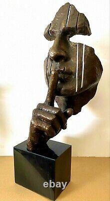 Figure en Bronze -büste Sur Base en Marbre Signé Hommage À Salvador Dali
