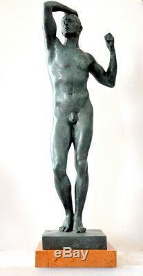 Figure en Bronze le / la Eherne Age Signé Rodin sur Base en Marbre en Bronze